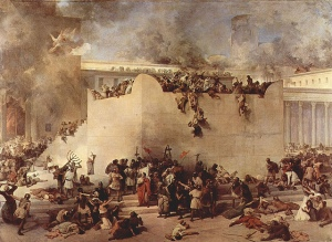 The Destruction of the Temple in Jerusalem, painted by Francesco Hayez, courtesy of Flickr and  marsmettnn tallahassee